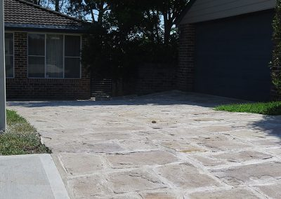 Sandstone flagging driveway